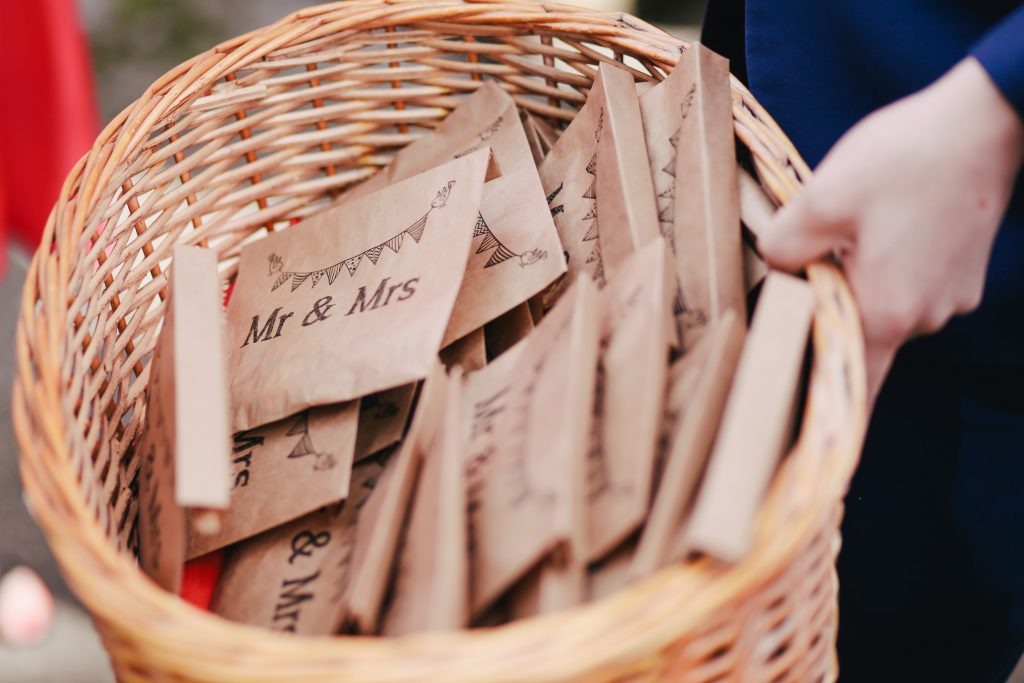 Basket of biodegradable confetti in small personalised brown paper envelopes