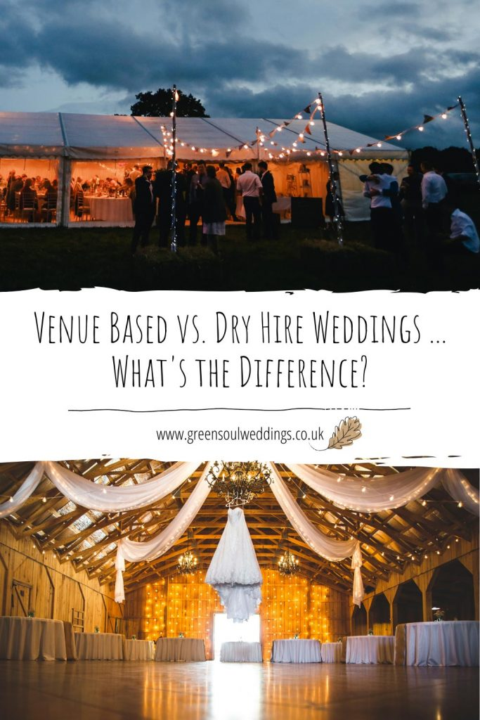 Venue based vs. dry hire weddings Pinterest graphic for future reference