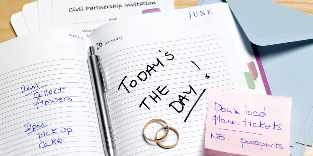 diary with an entry for a couples wedding day