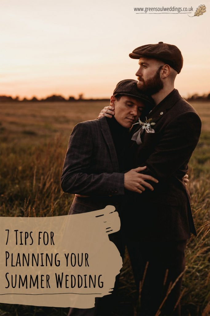 Image of two husbands embracing at sunset, with the words 7 tips for planning your summer wedding overlaying the image