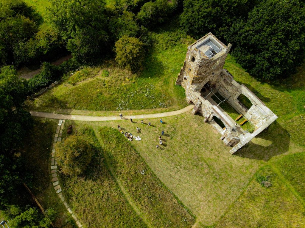 Drone footage shows the beautiful St Marys Old Church, Clophill, without it's roof and surrounded by well-maintained nature