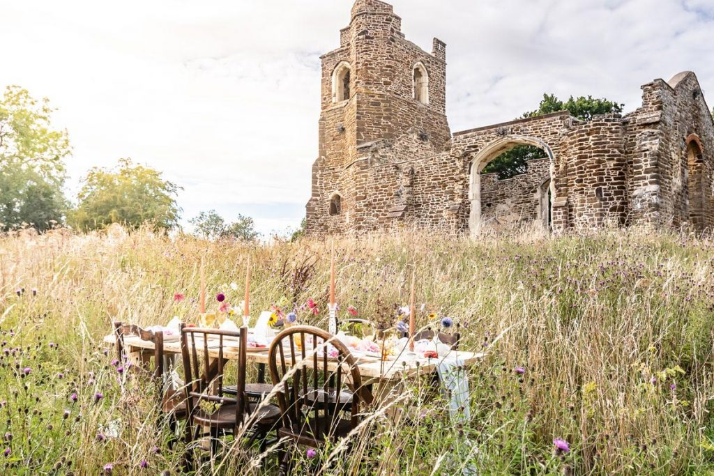 Clophill Eco Lodges is home to this beautiful Old ruined Church, a great sustainable wedding venue backdrop