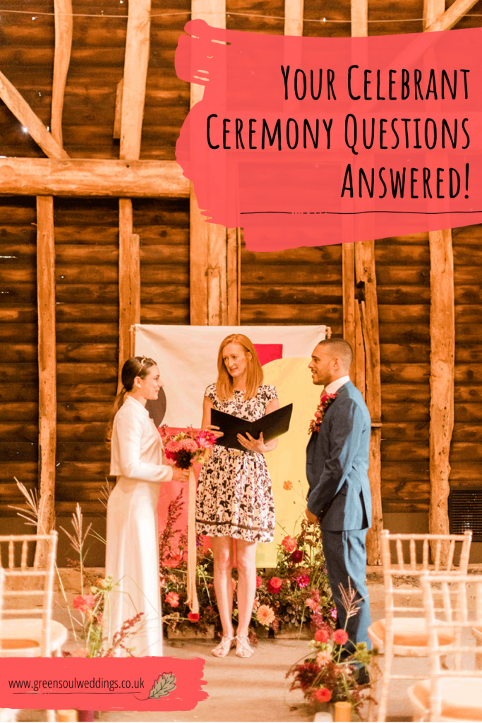 A couple and celebrant stand during their barn wedding ceremony. This is a Pinterest graphic with the blog title and website address displayed for ease of finding it in the future for reference
