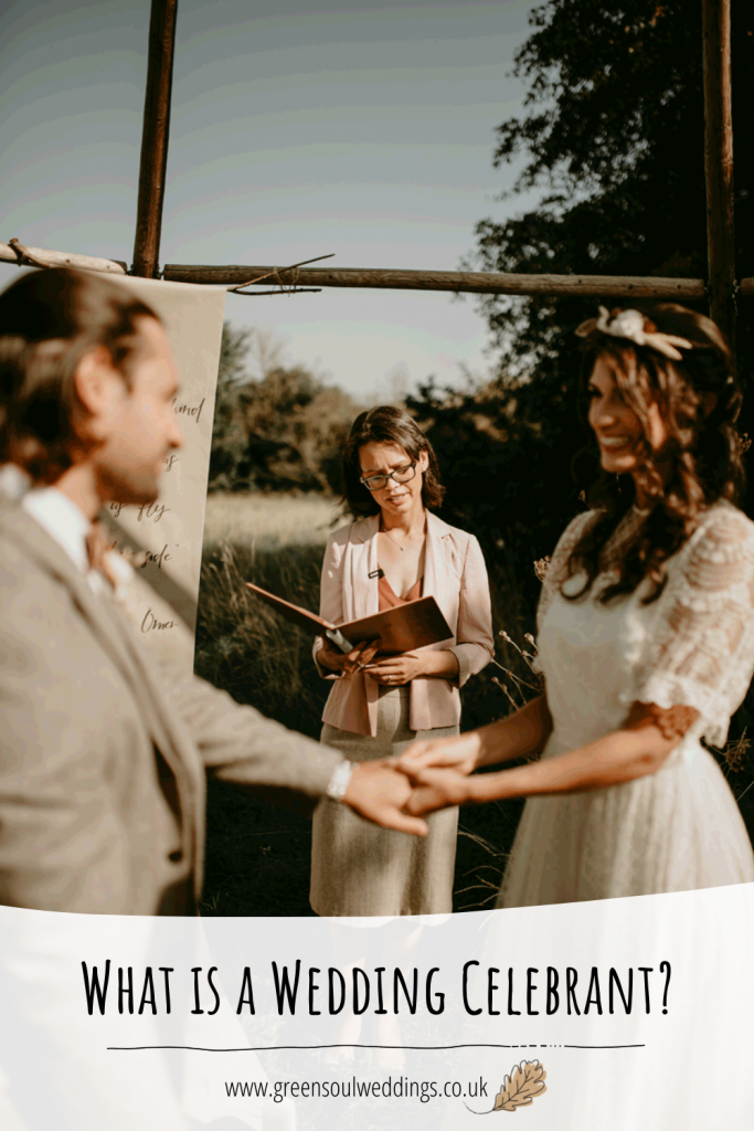 A celebrant conducts a wedding ceremony in a meadow. This is a graphic designed for Pinterest with the blog title and website address shown for future reference
